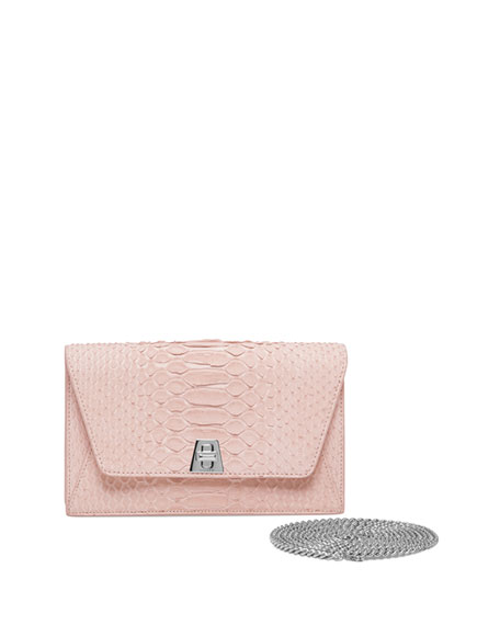 Image 1 of 3: Anouk Sueded Python Mini Clutch Bag, Light Pink