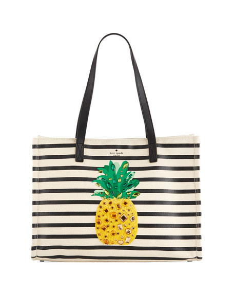 by the pool canvas pineapple tote bag