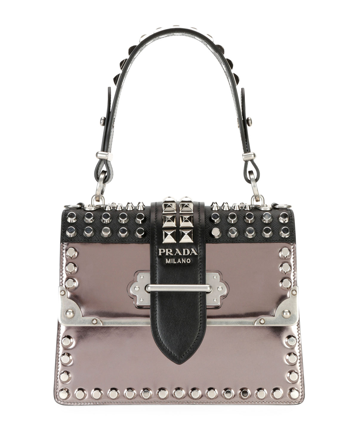 ce31cbe9c Prada Studded Cahier Top-Handle Bag | Neiman Marcus