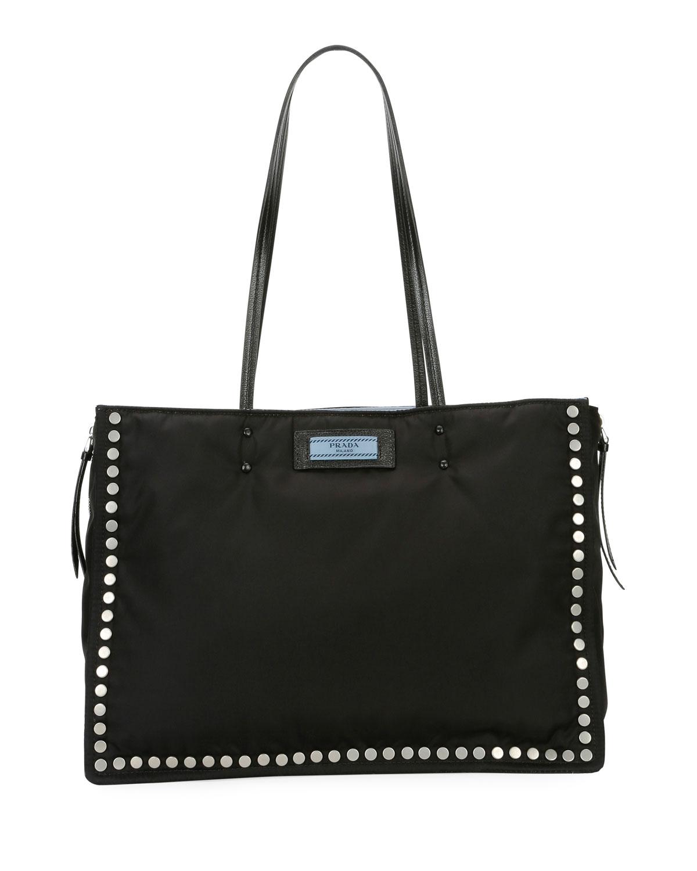 95c82653b1e6 Prada Studded Tessuto Etiquette Shopper Bag | Neiman Marcus