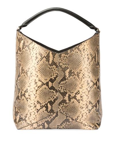 Snake-Embossed Leather Hobo Tote Bag