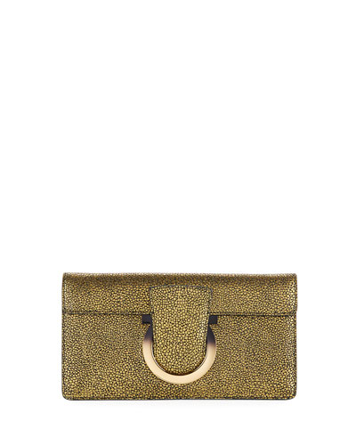 Thalia Small Speckled Suede Cocktail Clutch Bag