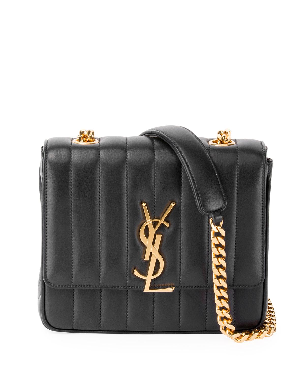87dce01dd835 Saint Laurent Vicky Medium YSL Monogram Chain Crossbody Bag