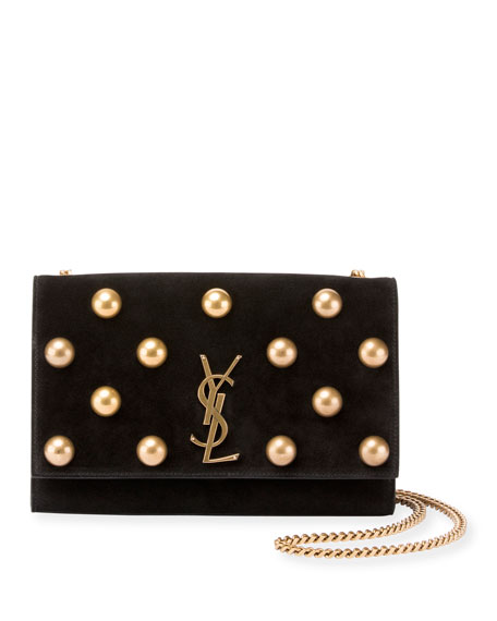 Saint Laurent Kate Monogram Medium Dome-Stud Suede Shoulder