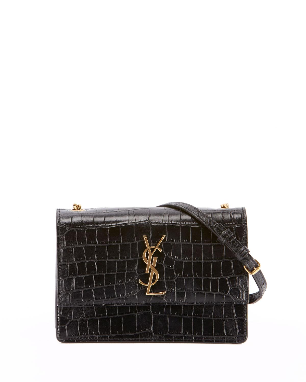 c57604de2f0 Saint Laurent Monogram YSL Sunset Small Chain Croco Shoulder Bag ...
