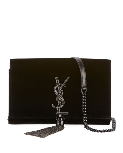 Kate Toy Small Crystal-Monogram YSL Tassel Velvet Wallet on a Chain - Silvertone Hardware