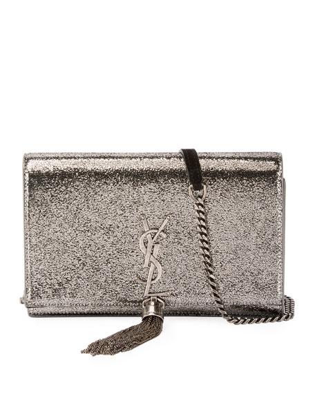 Kate Monogram YSL Small Crackled Metallic Tassel Wallet on Chain - Light Bronze Hardware