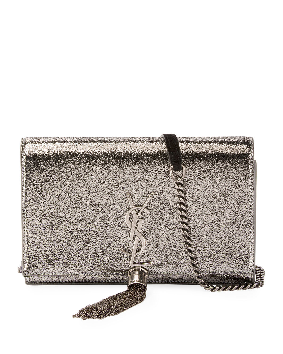 Saint LaurentKate Monogram YSL Small Crackled Metallic Tassel Wallet on  Chain - Light Bronze Hardware efcc6fda52215
