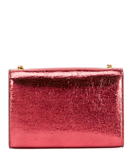 Kate Monogram YSL Small Crackled Metallic Wallet on Chain
