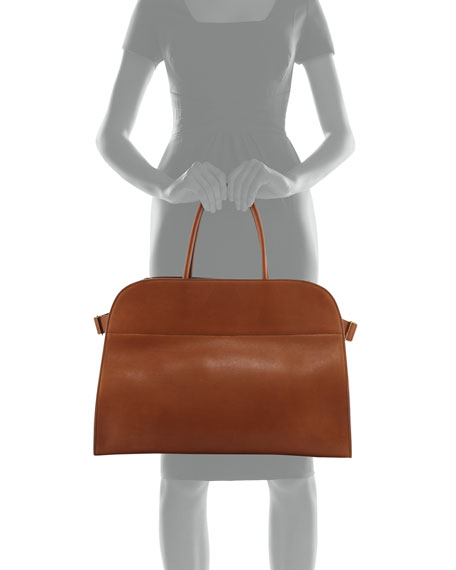 THE ROW Margaux 17 Smooth Saddle Leather Tote Bag