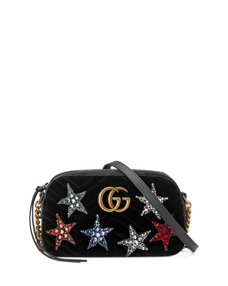 Gucci GG Marmont Crystal-Star Velvet Camera Bag