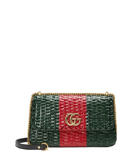 b4420d701a7b Gucci Small Linea Cestino Glazed Wicker Shoulder Bag - Green ...
