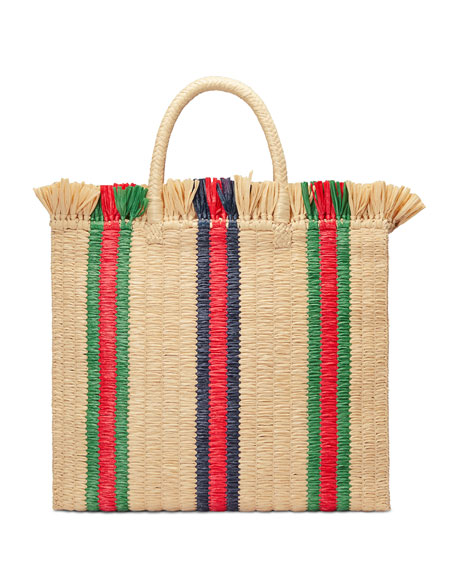 Linea Cestino Striped Raffia Tote, Natural Straw