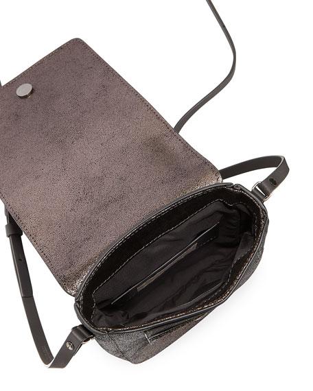 Metallic Leather Crossbody Messenger Bag