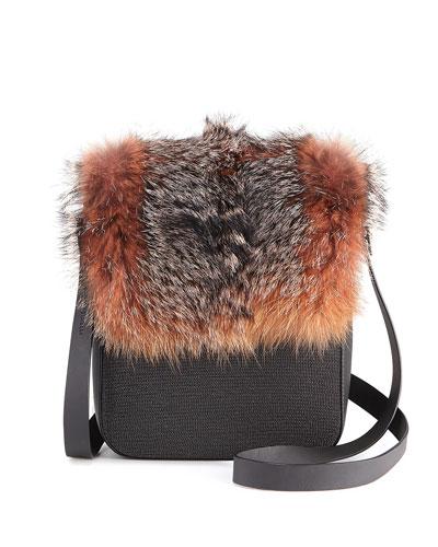 Fur and Monili Crossbody Messenger Bag