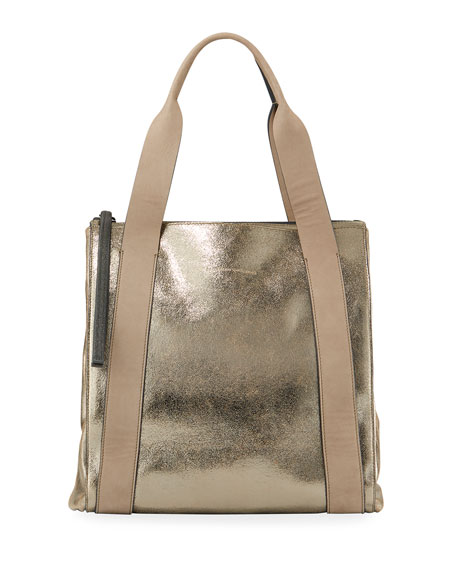 Metallic Leather Zip-Top Tote Bag