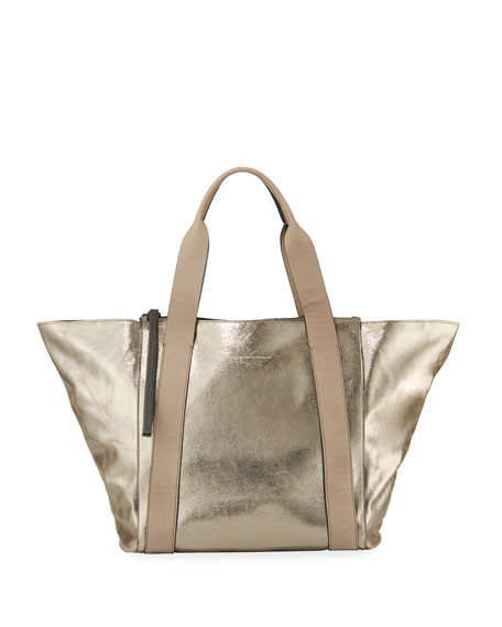 Brunello Cucinelli Metallic Leather Zip-Top Tote Bag