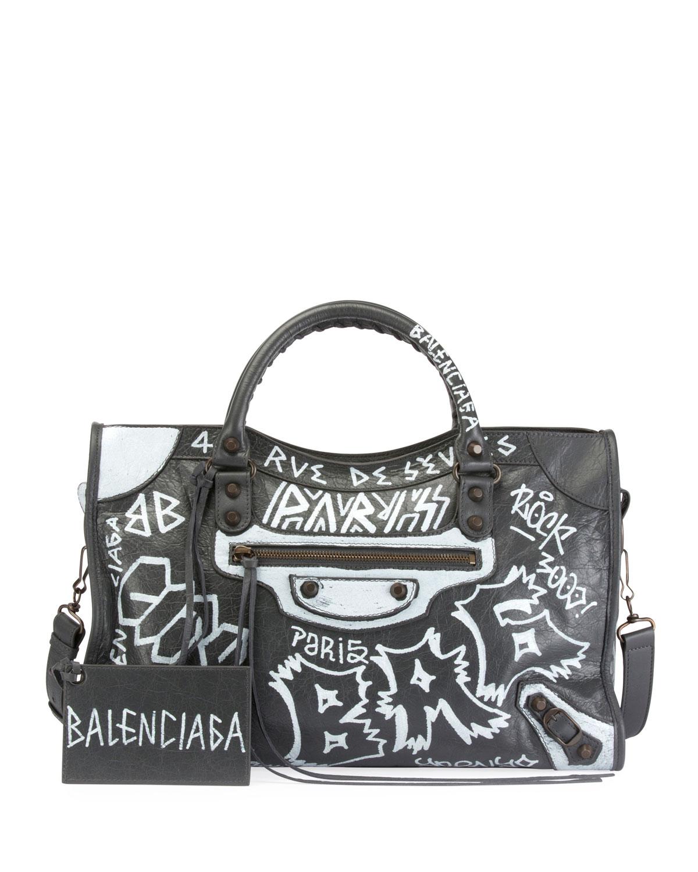7db69e6b7b Balenciaga Classic City AJ Graffiti-Print Satchel Bag | Neiman Marcus