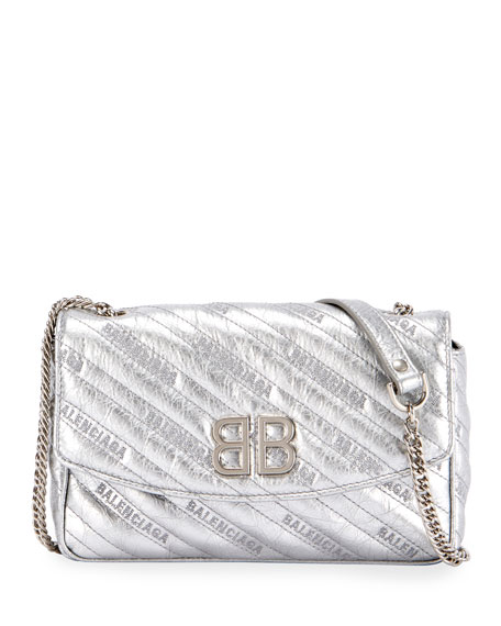 Balenciaga BB Chain Metallic Logo Crossbody Bag