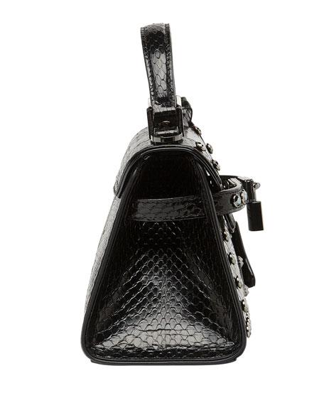 MCM Neo Heritage Exotic Crystal Satchel Bag