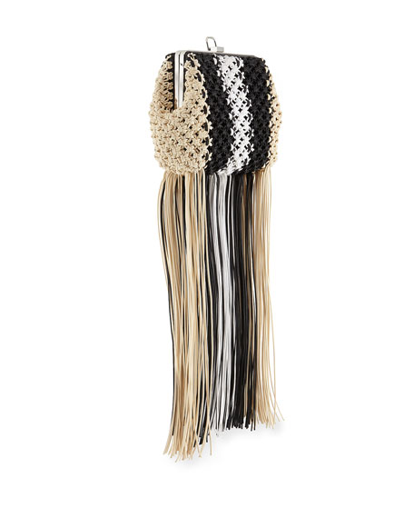 Proenza Schouler Frame Macrame Clutch Bag with Fringe