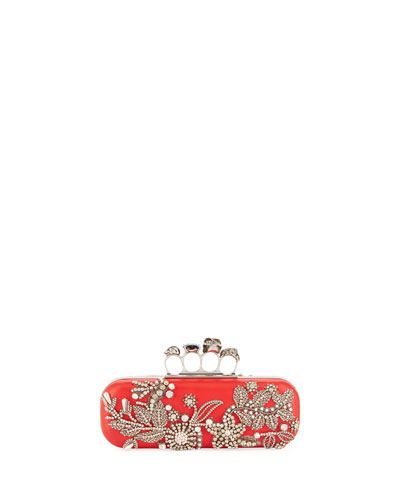 Jeweled Four-Ring Hard Clutch Bag