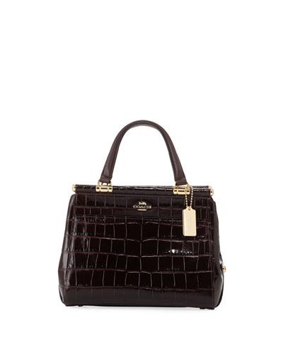 Grace Embossed Crocodile Top-Handle Bag