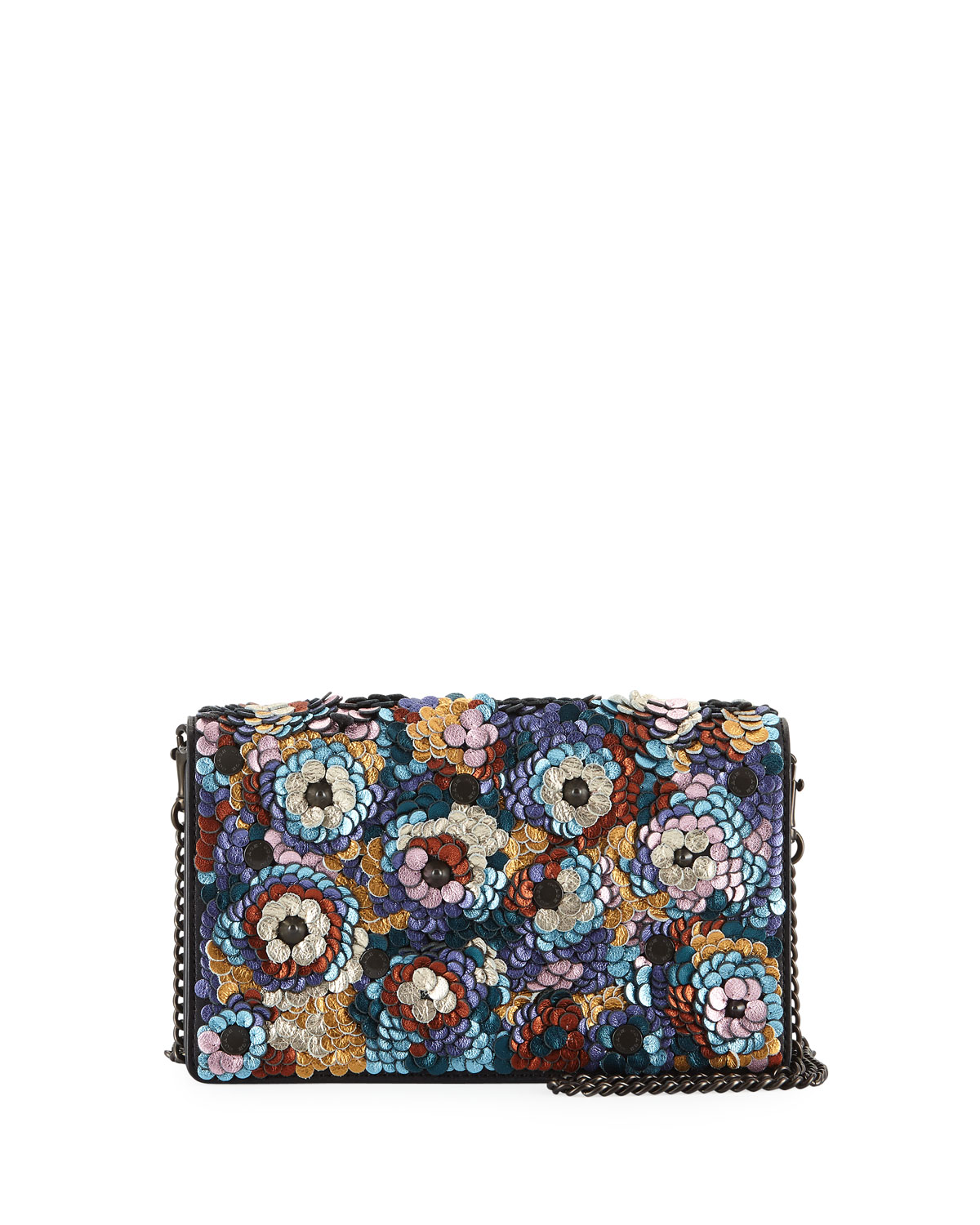 Coach 1941 Leather Sequined Fold Over Chain Clutch Bag