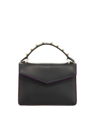 Pixie Mini Leather & Velvet Satchel Bag