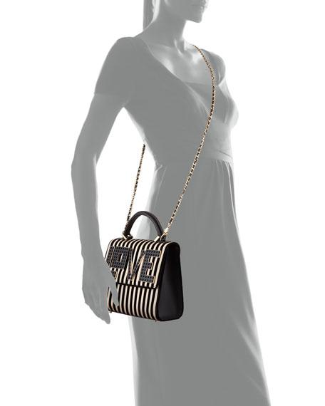 Les Petits Joueurs Alex Mini Black Widow LOVE Chain Shoulder Bag