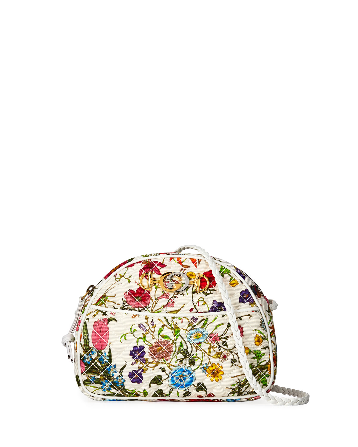 7d730e589bb Gucci Trapuntata Small Quilted Floral Shoulder Bag   Neiman Marcus