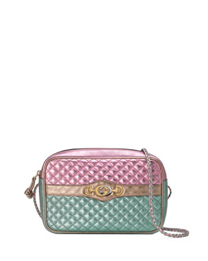 6f1914276684 Gucci Trapuntata Small Quilted Metallic Crossbody Camera Bag