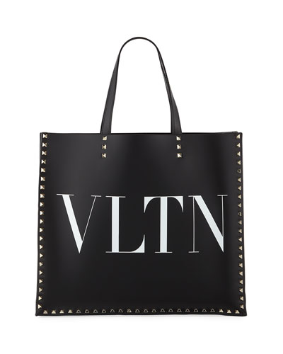 VLTN Rockstud Leather Tote Bag