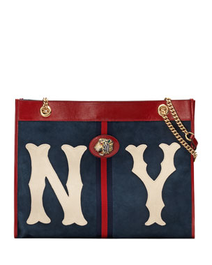 22c7c118b15d Gucci Linea Rajah Large Suede Tote Bag with NY Yankees MLB Patch