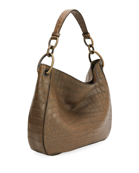 Image 2 of 3: Bottega Veneta Soft Crocodile Loop Hobo Bag