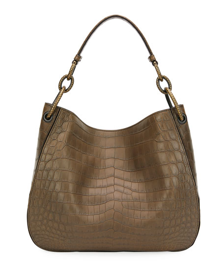 Image 3 of 3: Bottega Veneta Soft Crocodile Loop Hobo Bag
