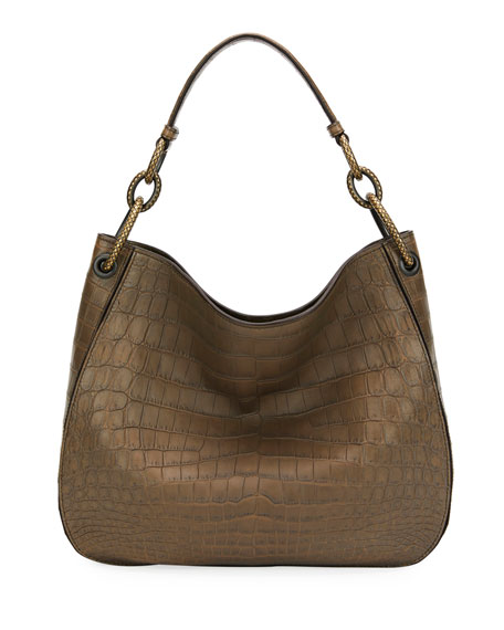 Image 1 of 3: Bottega Veneta Soft Crocodile Loop Hobo Bag