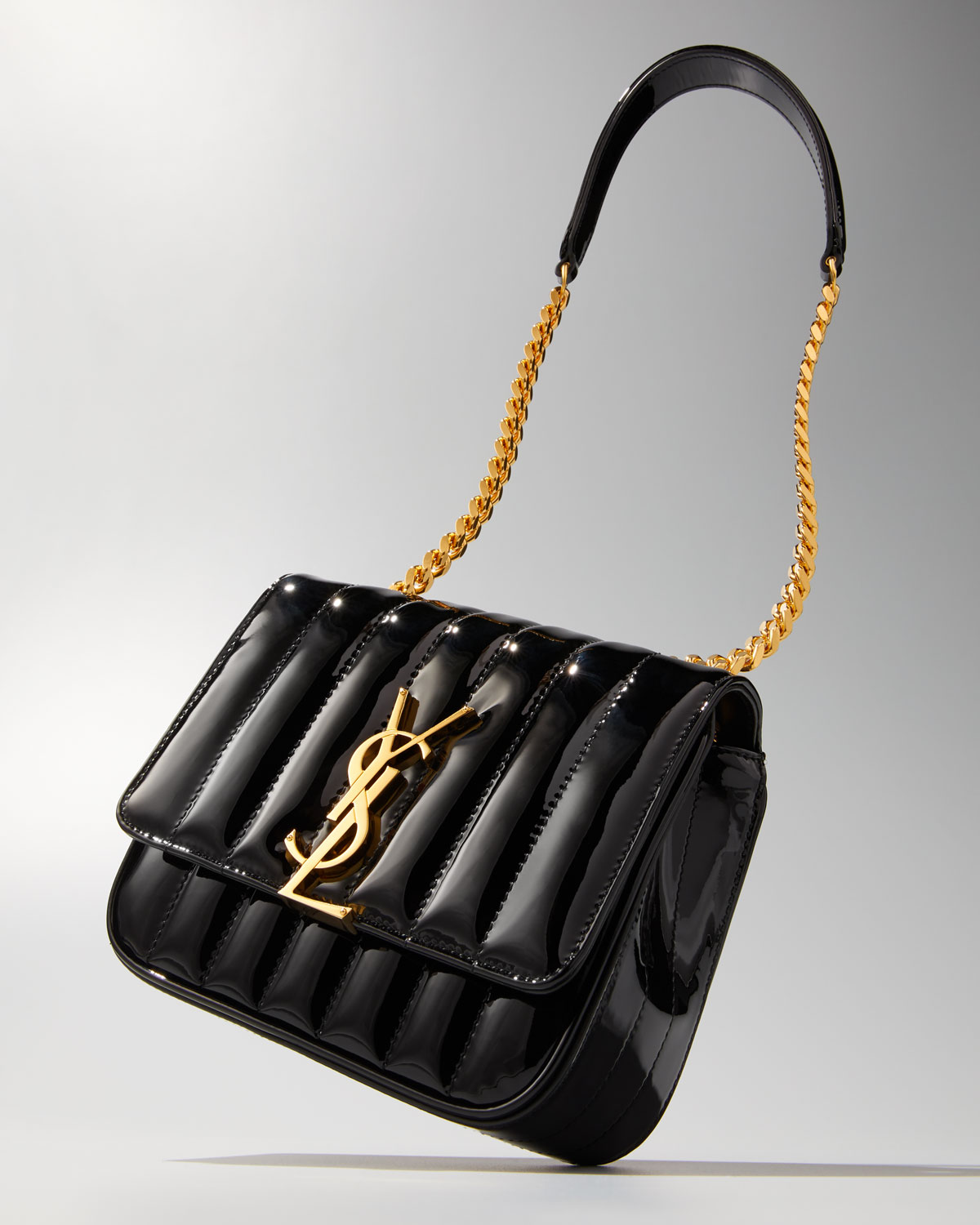 f42d98fb555 Saint Laurent Vicky Monogram YSL Small Quilted Patent Leather Crossbody Bag  | Neiman Marcus