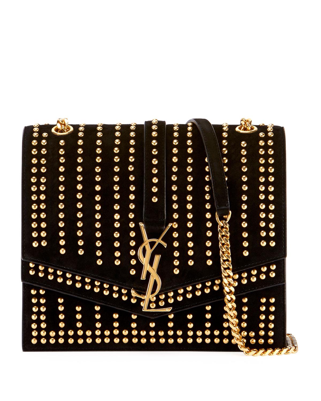 Saint LaurentSulpice Monogram YSL Triple-Flap Suede Crossbody Bag - Golden  Hardware 86fe007860474
