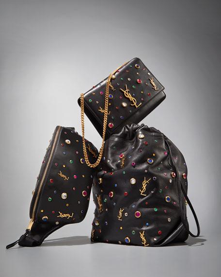 Saint Laurent Teddy Stone-Stud Leather Drawstring Bucket Bag
