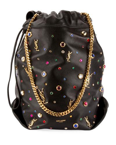 Teddy Stone-Stud Leather Drawstring Bucket Bag