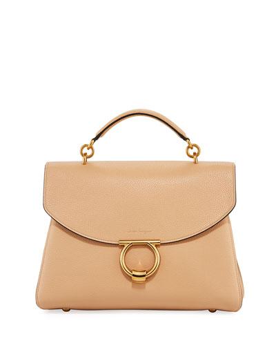 Margot Medium Top Handle Bag  Almond/Beige