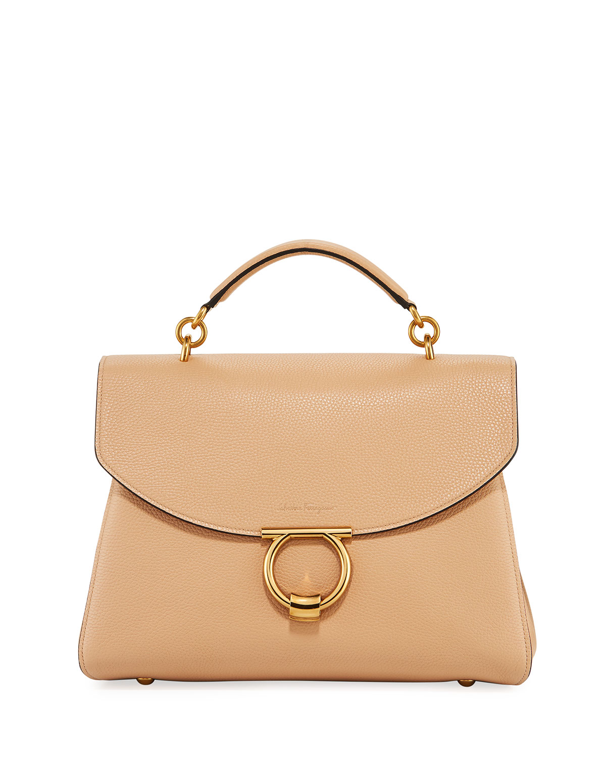 Salvatore Ferragamo Margot Medium Top Handle Bag, Almond Beige ... 47a6aef78a