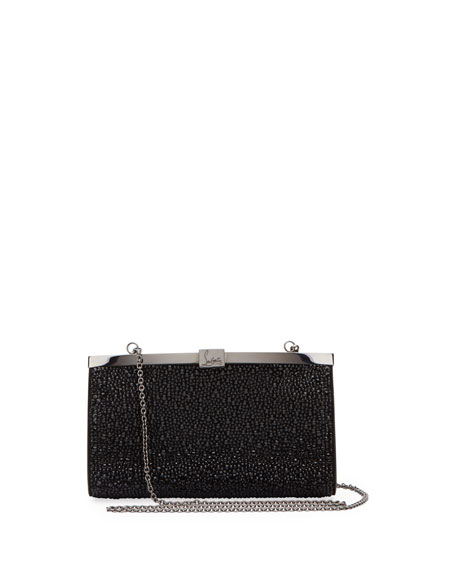 Christian Louboutin Palmette Small Crystal Suede Clutch Bag