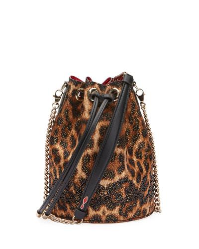 Marie Jane Leopard-Print Bucket Bag