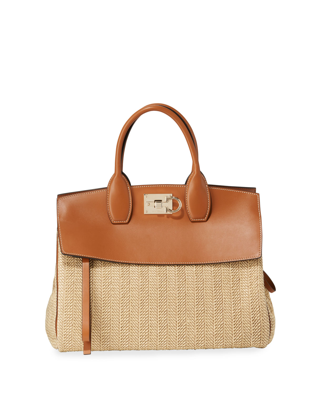 The Studio Medium Leather Raffia Satchel Bag