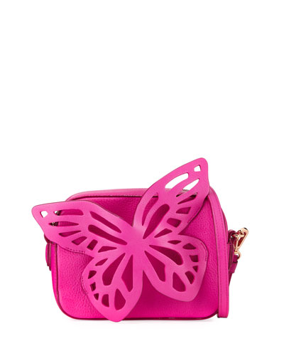Flossy Leather Butterfly Crossbody Camera Bag
