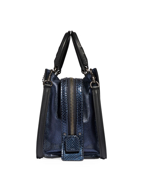 Coach 1941 Rogue 25 Metallic Leather Tote Bag with Exotic Detail