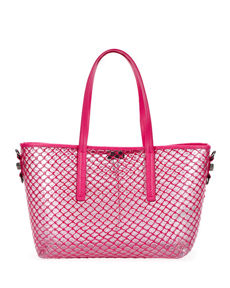 Off-White PVC Net Shopper Tote Bag, Fuchsia