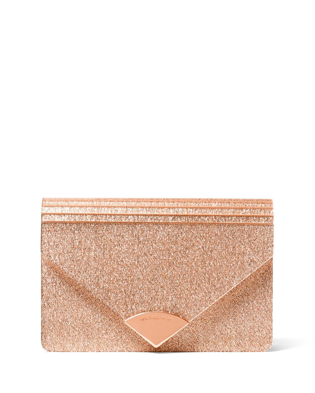 779cd90ec8cae0 MICHAEL Michael Kors Barbara Medium Envelope Clutch Bag - Rose Hardware